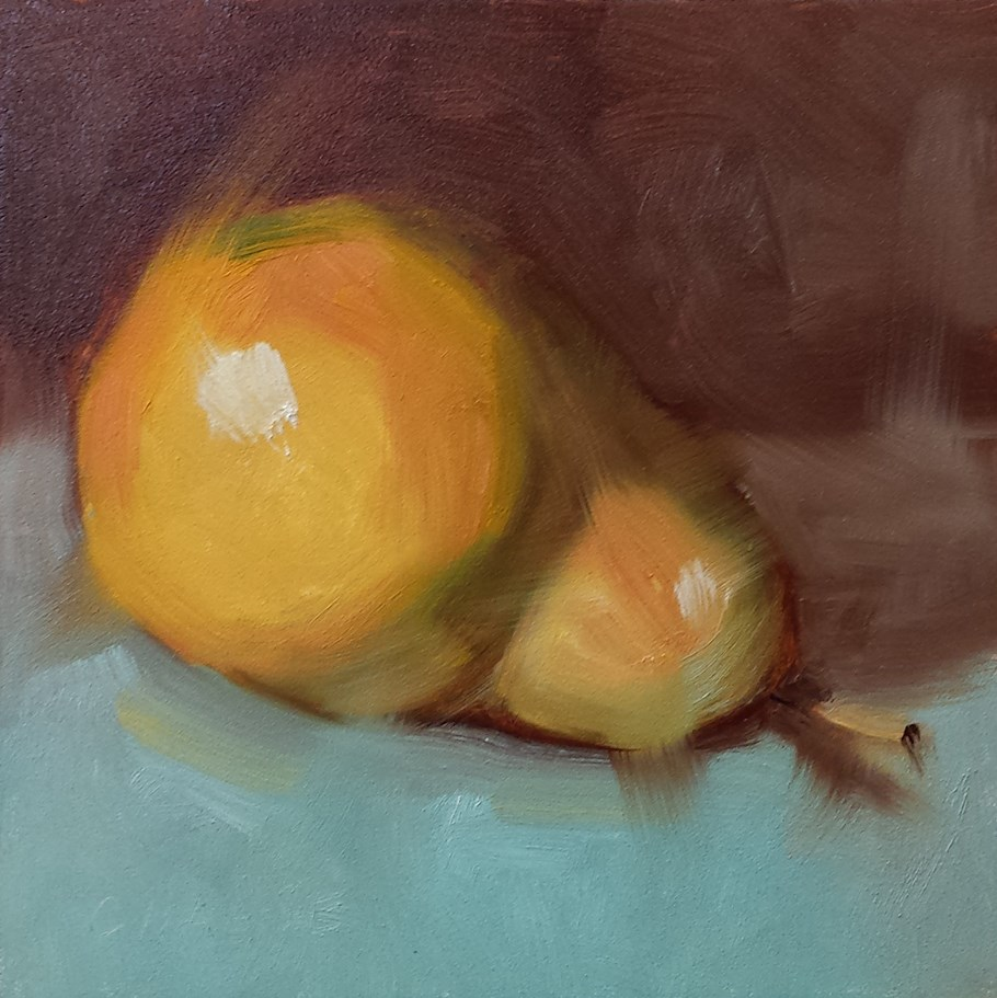 """Pear on Turquoise"" original fine art by Cindy Haase"