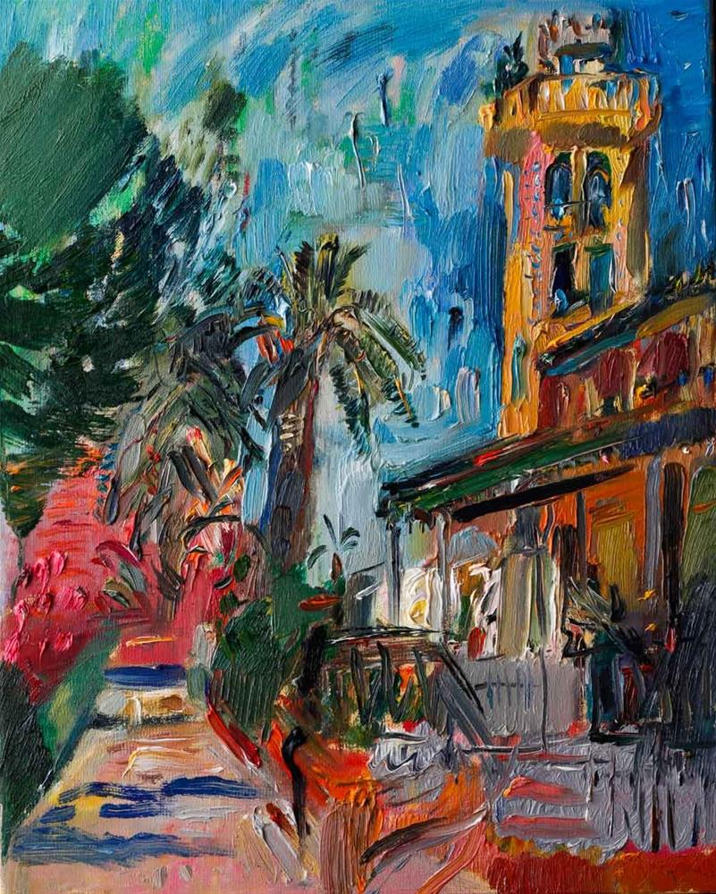 """Casa Beltri, Spanish Palm Garden - Plein Air Painting"" original fine art by Anna  Fine Art"