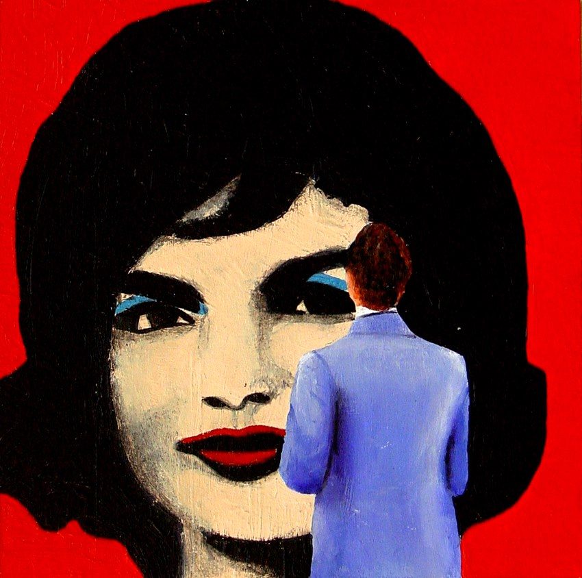 """Jackie- Painting Of Man Enjoying Painting Of Jackie Kennedy By Andy Warhol"" original fine art by Gerard Boersma"