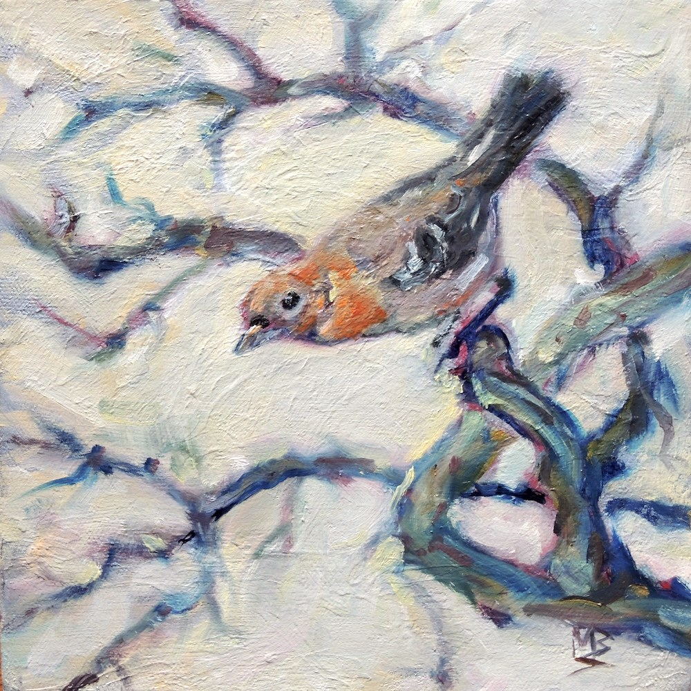 """Spring Finch"" original fine art by Mary Schiros"
