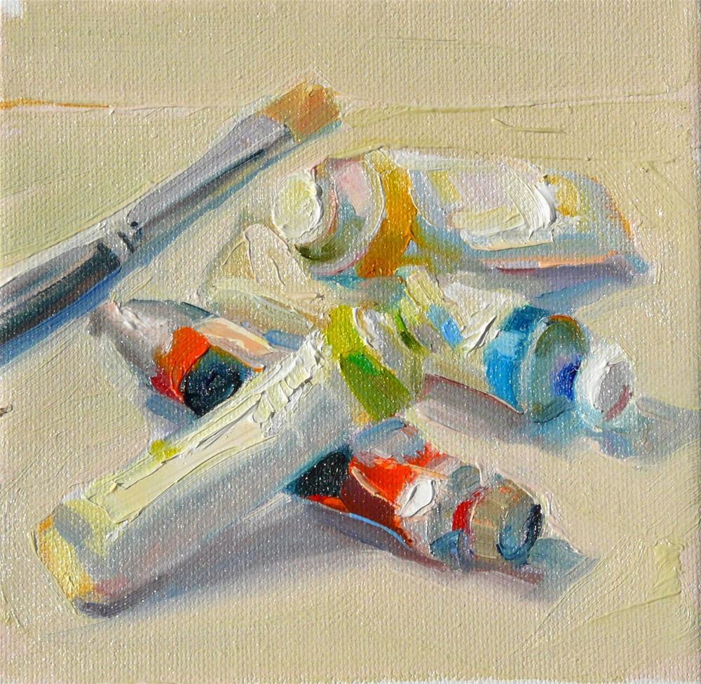 """Paint Tubes,still life,oil on canvas,6x6,price$200"" original fine art by Joy Olney"