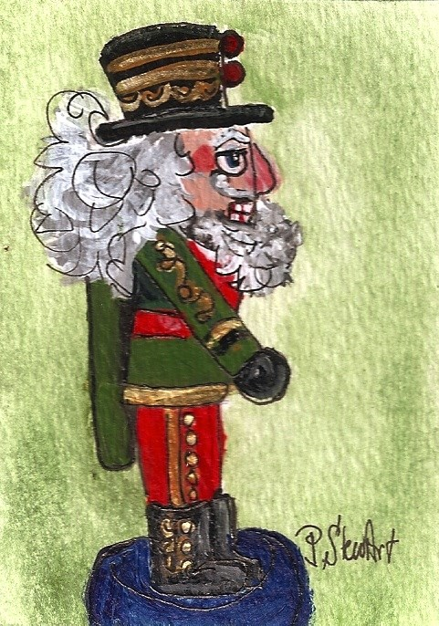 """ACEO Nutcracker Painting Old Man Leprechaun Original SFA Penny StewArt"" original fine art by Penny Lee StewArt"