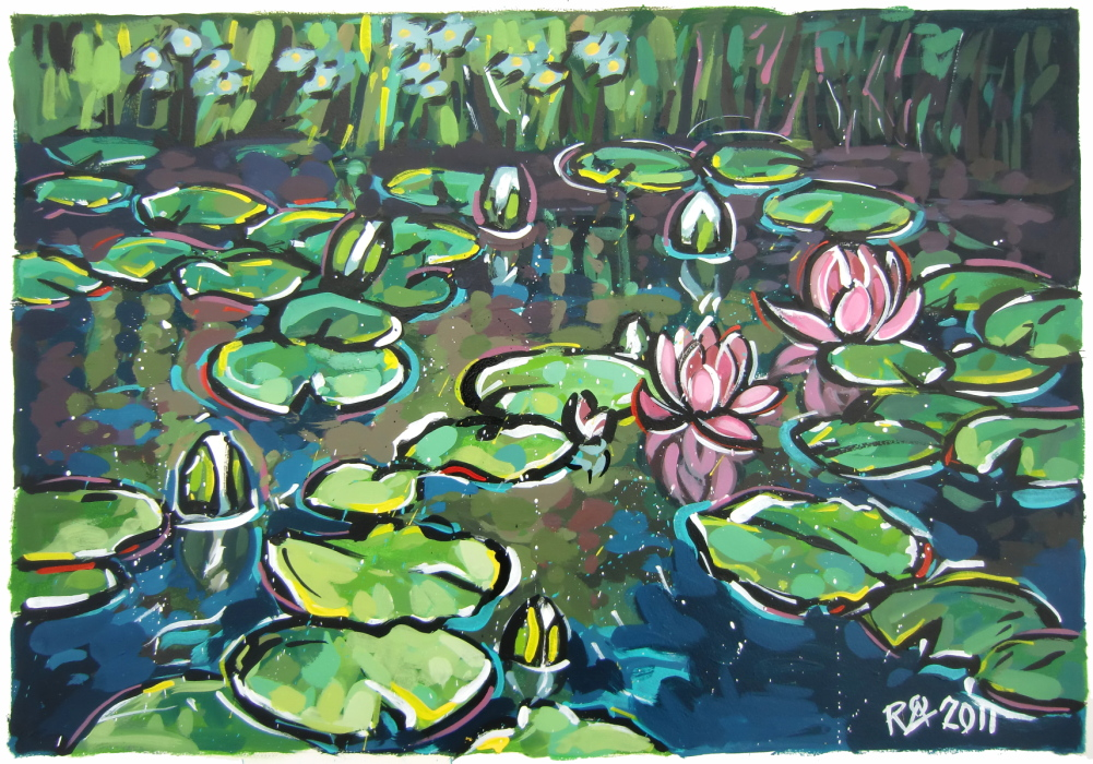 """Partially Abstract Water Lilies 23"" original fine art by Roger Akesson"
