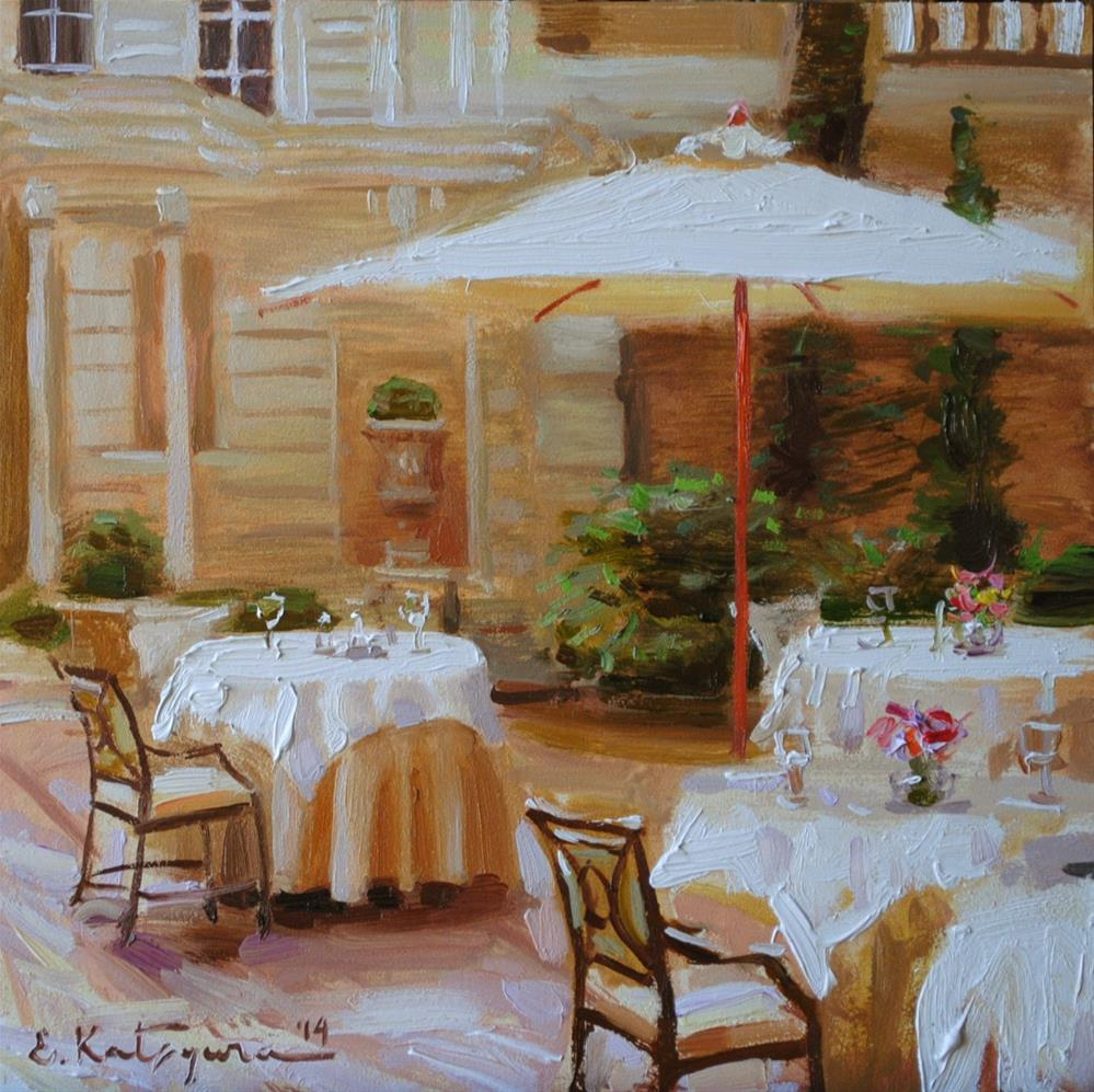 """White Courtyard"" original fine art by Elena Katsyura"