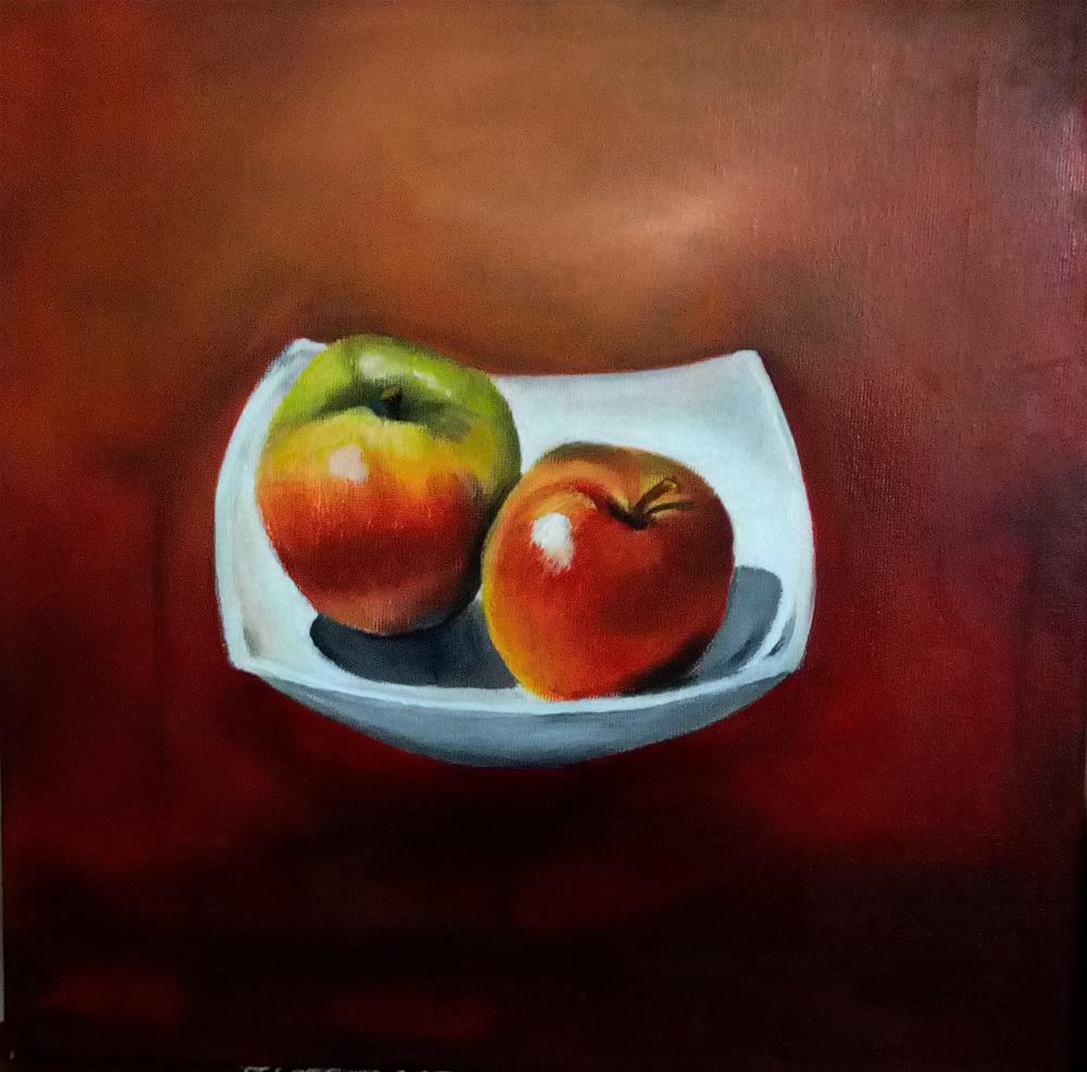 """Two Apples"" original fine art by Laura B."