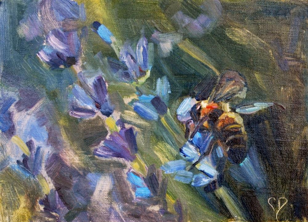 """Bee Painting, Original oil by Carol DeMumbrum"" original fine art by Carol DeMumbrum"