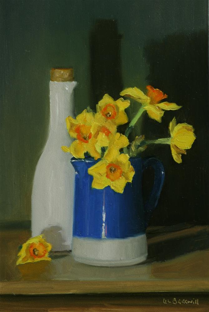 """Narcissi in blue jug with white carafe"" original fine art by Liz Balkwill"
