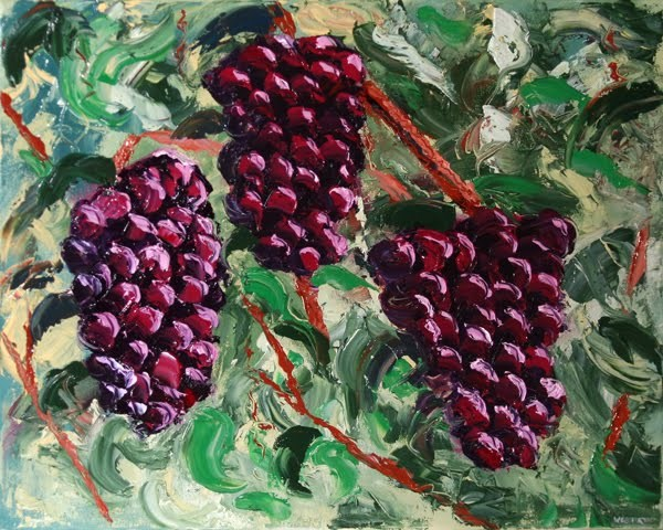 """Mark Webster - The Grape Vine Palette Knife Oil Painting"" original fine art by Mark Webster"