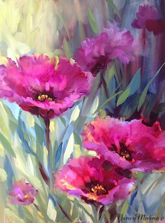 """Bee's Eye View Purple Poppies by Floral Artist Nancy Medina"" original fine art by Nancy Medina"
