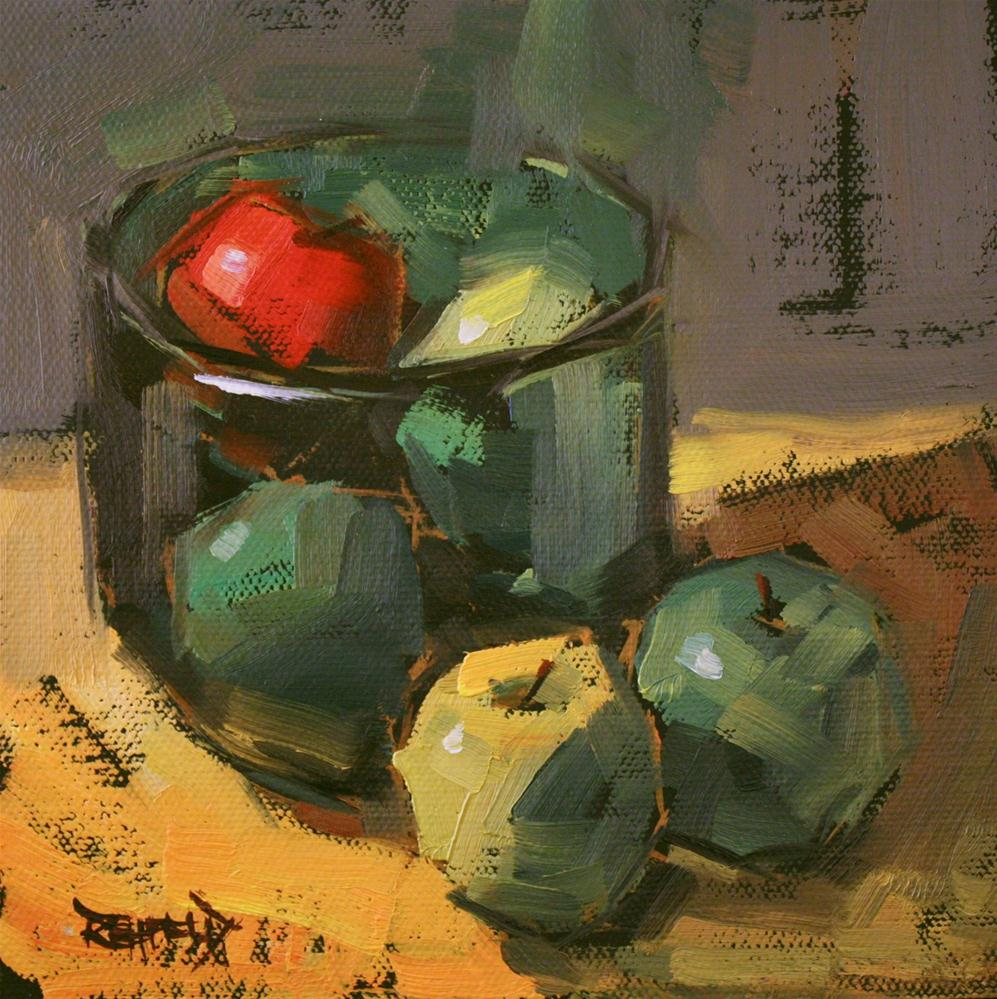 """One Red Apple"" original fine art by Cathleen Rehfeld"