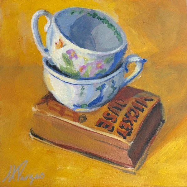 """""""Tea With Mickey"""" original fine art by Mary Pargas"""