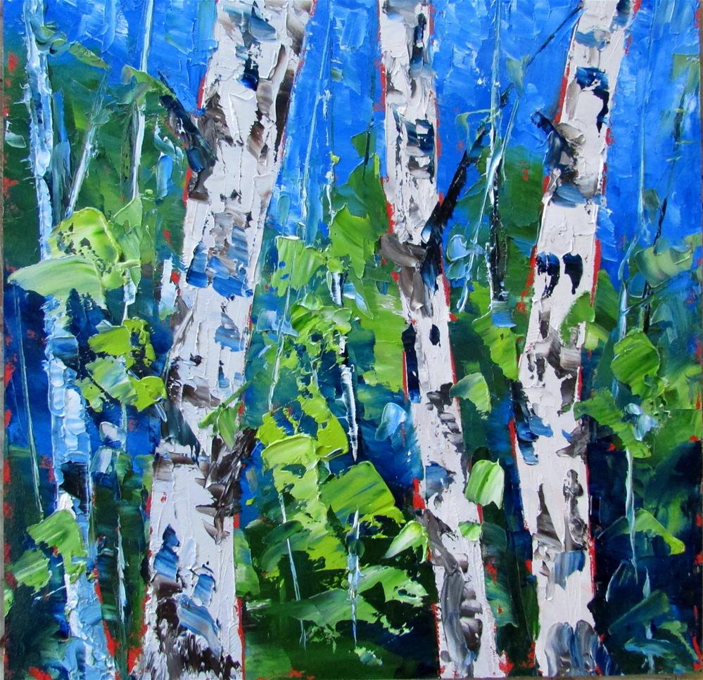 """8 x 8 inch oil LIttle Birches #12"" original fine art by Linda Yurgensen"