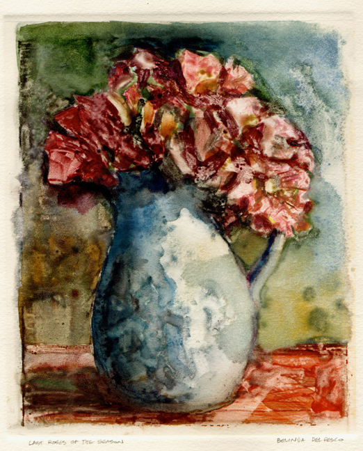 """Monotype: Last Roses of the Season"" original fine art by Belinda Del Pesco"