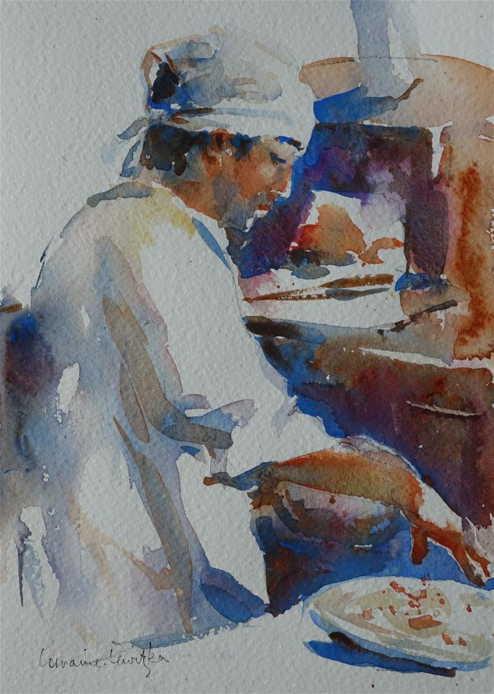"""Pizza Cook"" original fine art by Lorraine Lewitzka"