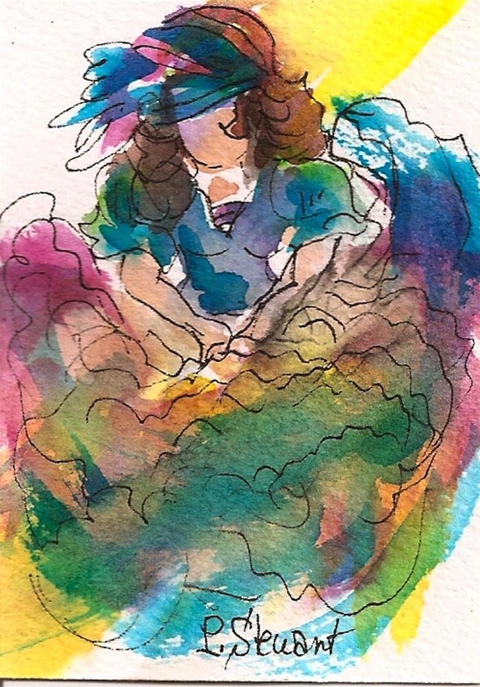 """ACEO Gypsy Dancer"" original fine art by Penny Lee StewArt"