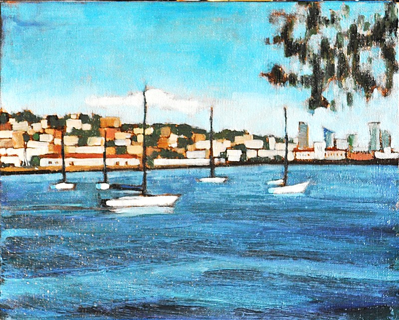 """Sailboats in San Diego Bay"" original fine art by Kevin Inman"