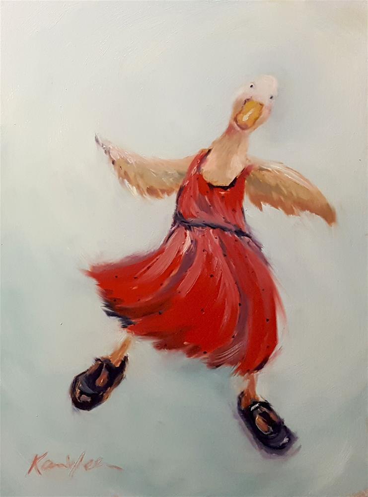 """Learning to Waddle 2"" original fine art by Karen Weber"