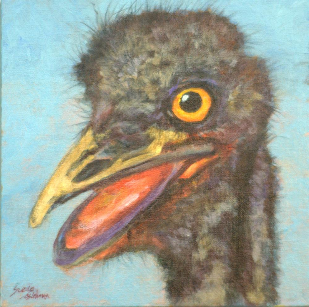 """Emu at Texas Safari"" original fine art by Carla Ridener"