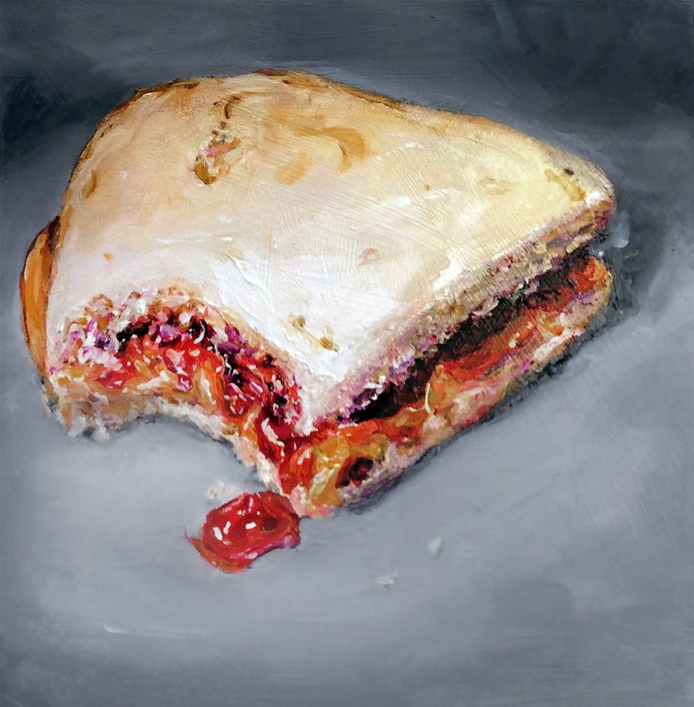 """Bite 3 (PB&J #24 - Peanut Butter & Jelly Sandwich Painting)"" original fine art by Sunny Avocado"
