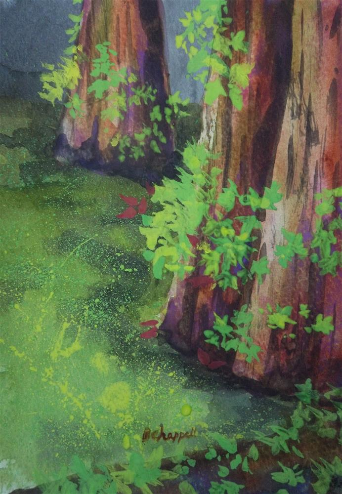 """""""Green Cypress"""" original fine art by Becky Chappell"""