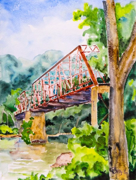 """Abandoned:  Shipp's Bend Bridge"" original fine art by  David Beale"