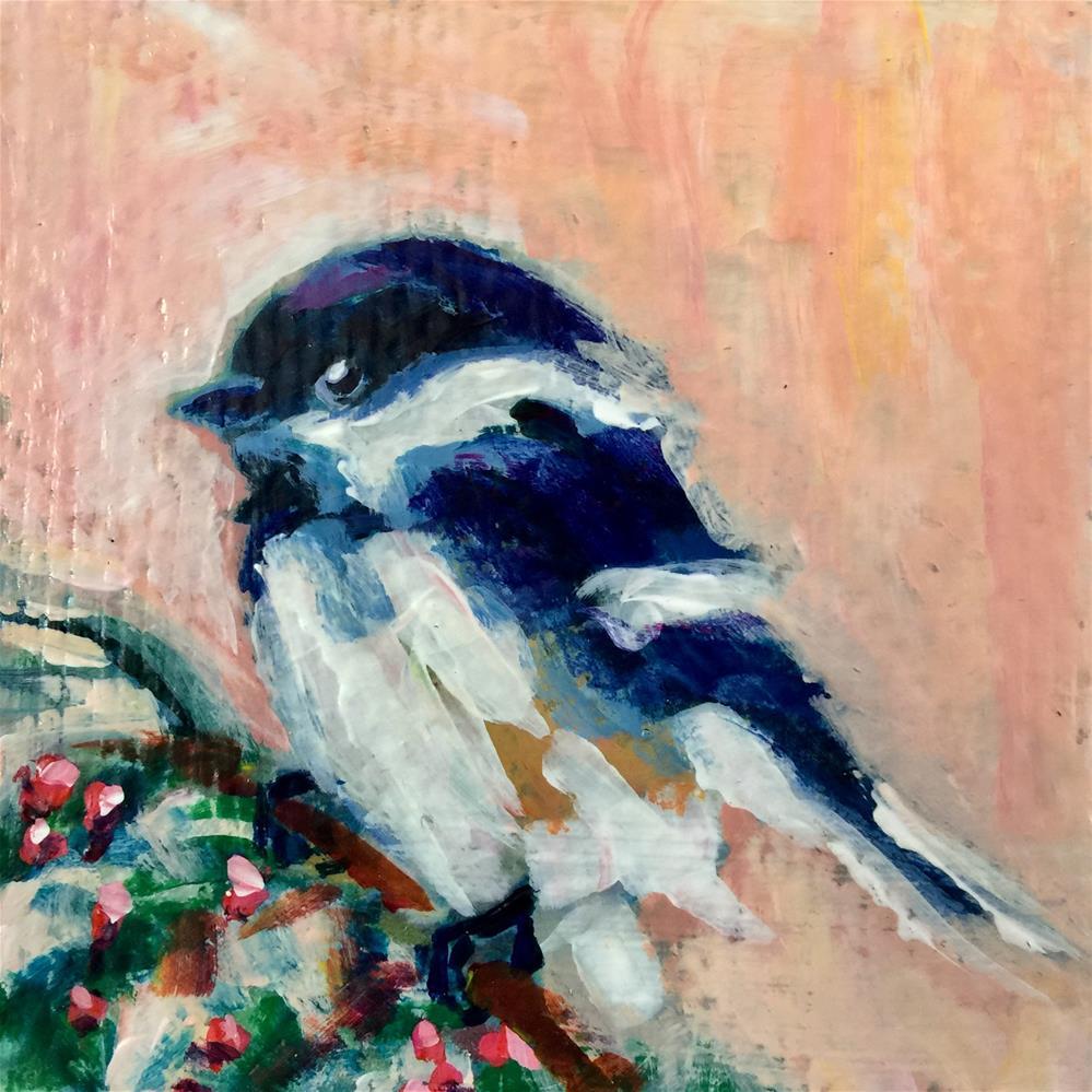 """""""Chickadee Delight"""" original fine art by Mb Warner"""