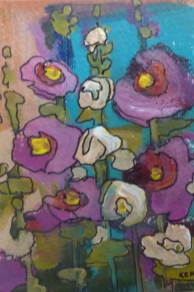 """Hollyhocks III"" original fine art by Karen Margulis"