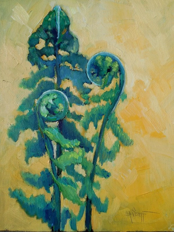 """Daily Painting, Small Oil Painting, Fiddlehead Fern Painting, 11x14x1.5 Oil"" original fine art by Carol Schiff"