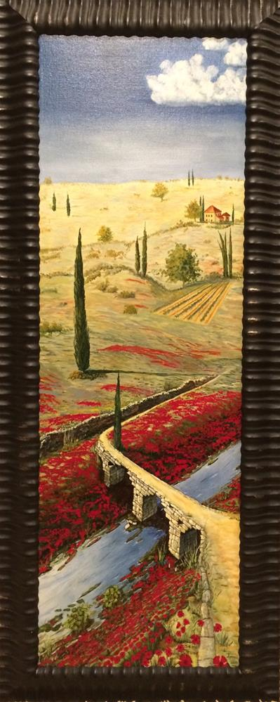 """Italy poppies and bridge"" original fine art by Beau Crump"