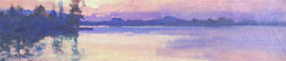 """Sunset Across the Lake"" original fine art by John Shave"