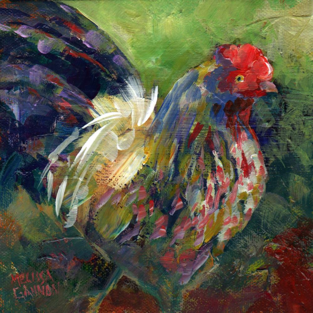 """Rooster Strut"" original fine art by Melissa Gannon"