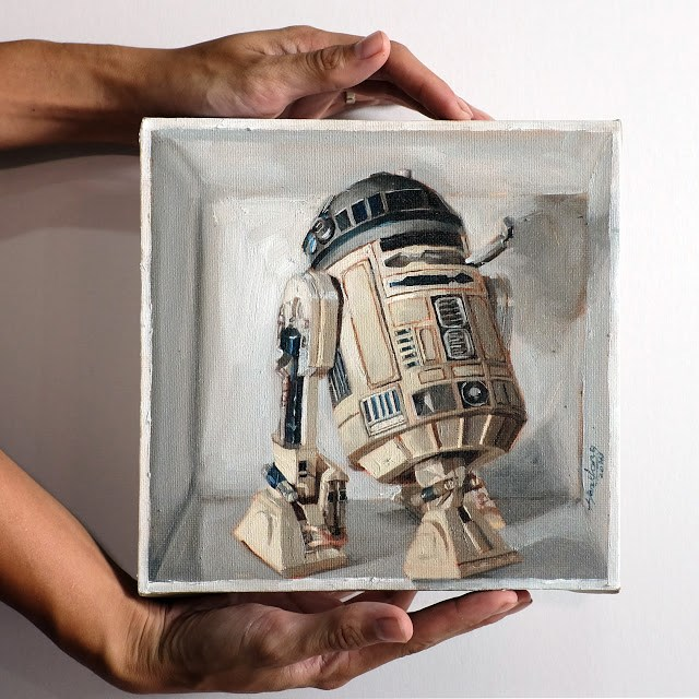 """R2D2 in a box"" original fine art by Haze Long"