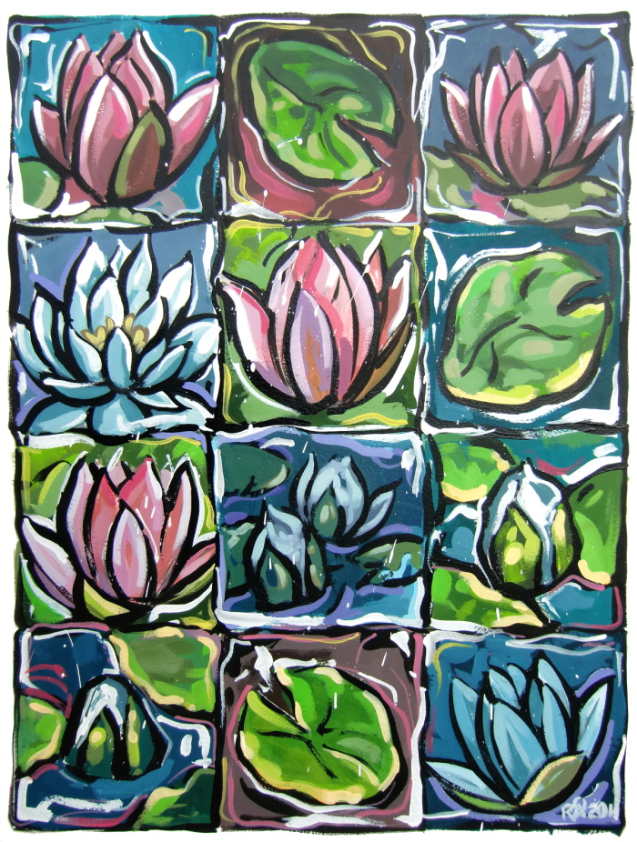 """12 squares of waterlily fun"" original fine art by Roger Akesson"