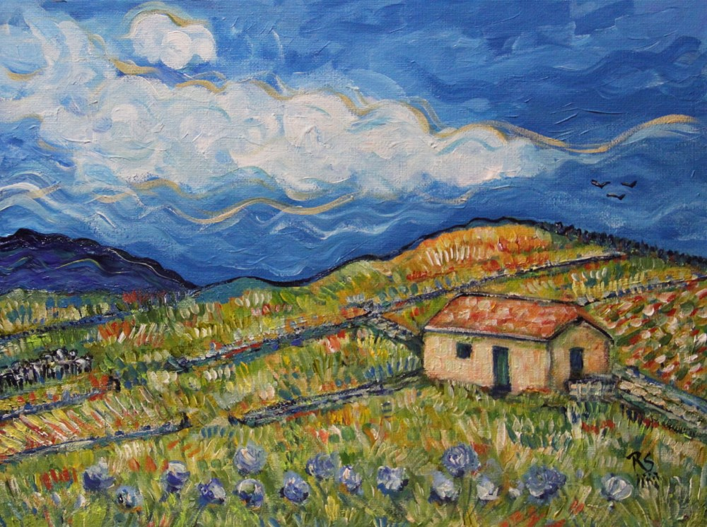 """Where The Purple Flowers Grow"" original fine art by Roberta Schmidt"