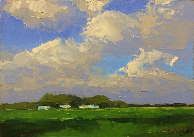 """Spring Green Fields"" original fine art by Mary Gilkerson"