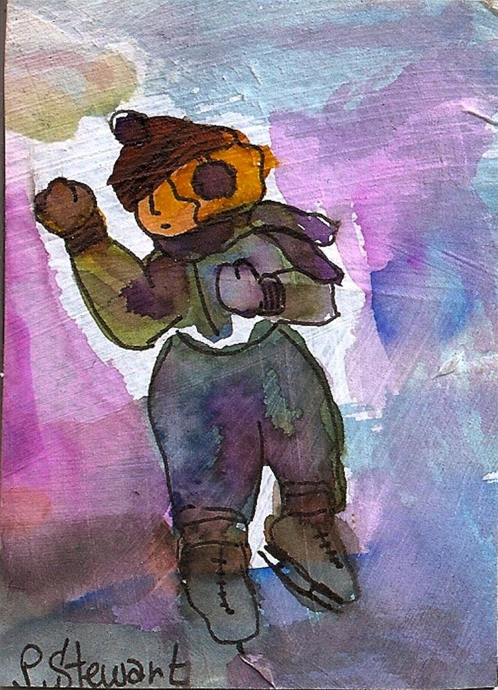 """""""ACEO Ice Skater"""" original fine art by Penny Lee StewArt"""