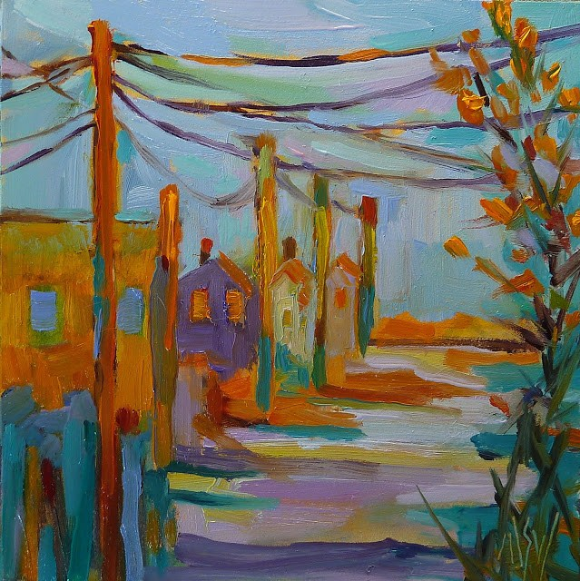 """Late December Light 4x4 oil on panel This is the view up my street towards the sea wall. Love the golden winter light."" original fine art by Mary Sheehan Winn"