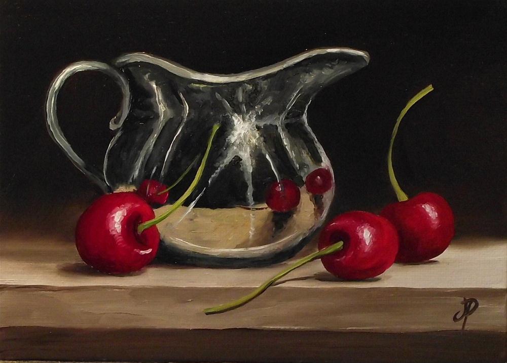 """""""Silver & Cherries"""" original fine art by Jane Palmer"""