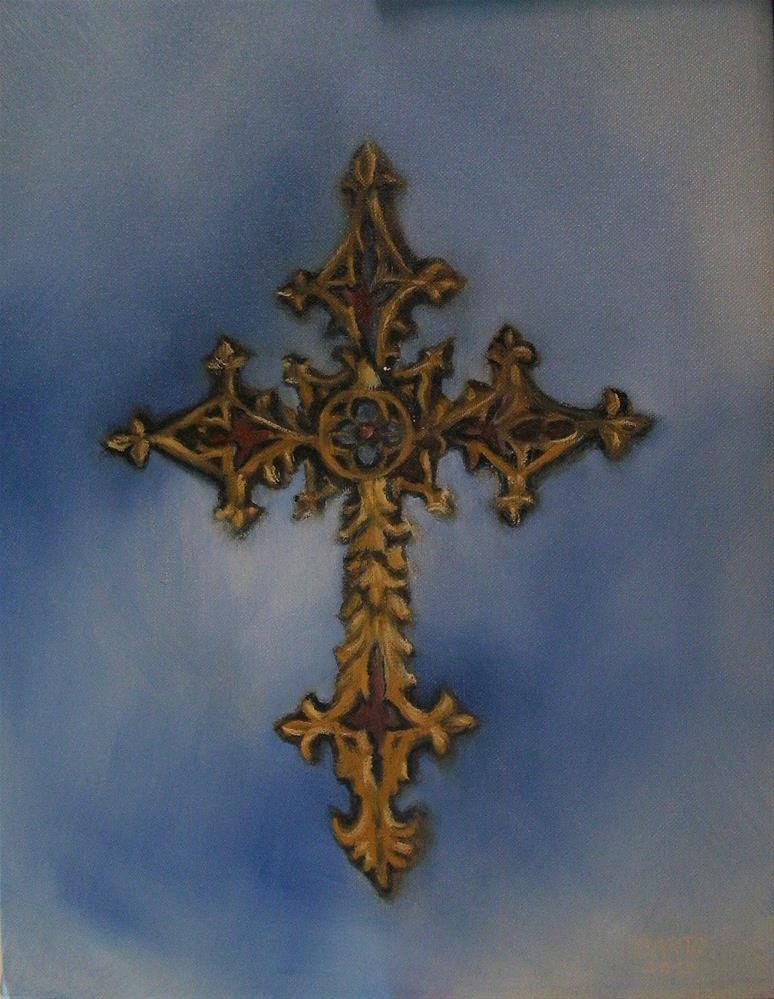 """Cross on Satin"" original fine art by Lynn Darby"