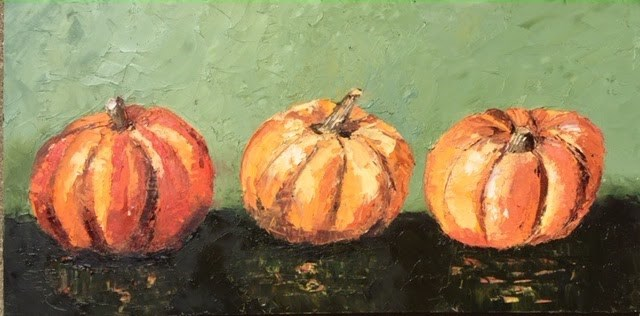 """Dancing Pumpkins"" original fine art by Elaine Ford"
