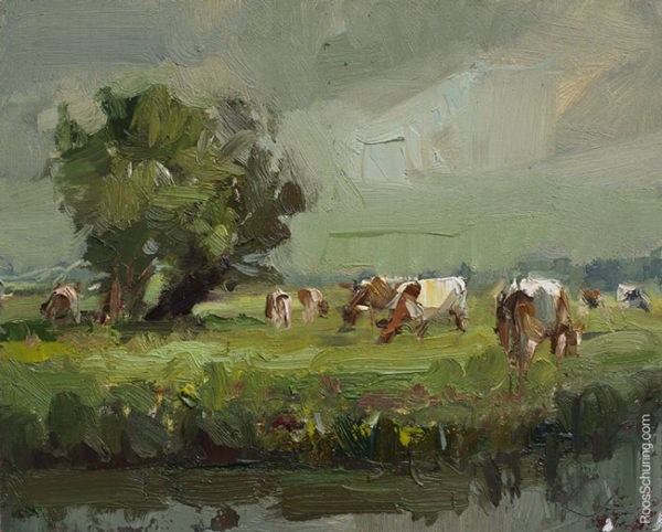 """Rainy Day, Willows and Brown Cows"" original fine art by Roos Schuring"