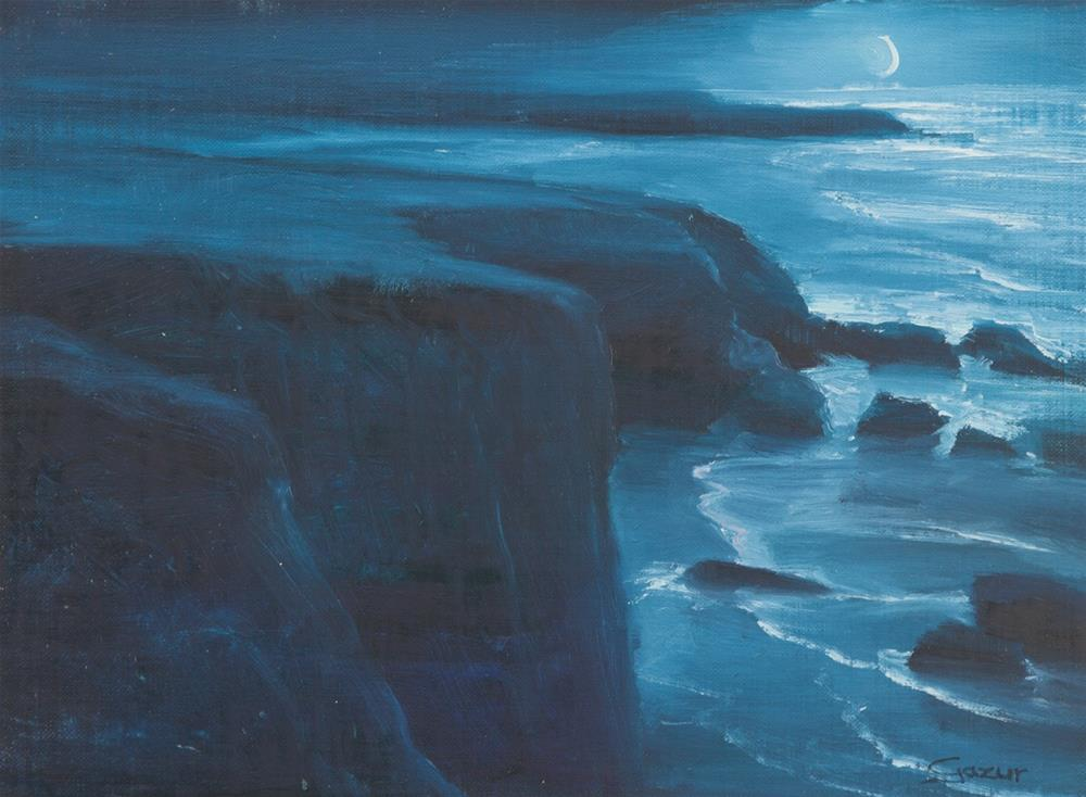 """Night by Arroyo De Los Chinos, Big Sur 9x12"" original fine art by Pavel Gazur"