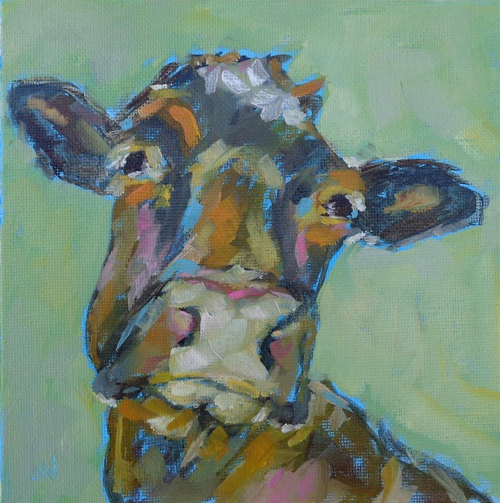 """Cow 56 Chill"" original fine art by Jean Delaney"