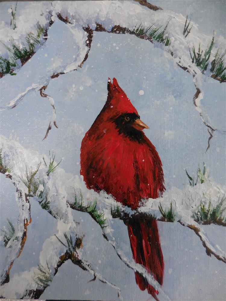 """Snow Bird"" original fine art by Terri Nicholson"