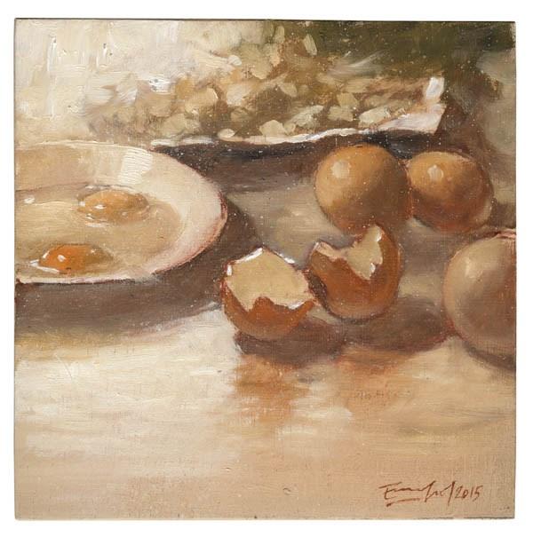 """""""Ingredientes para una tortilla"""" original fine art by Emilio López"""