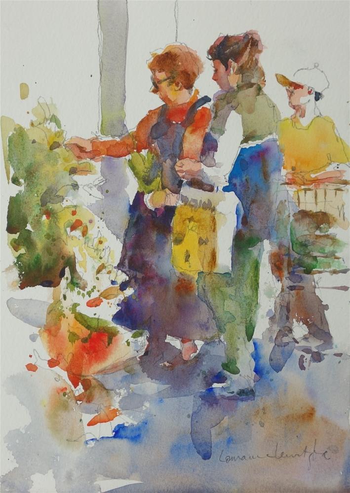 """""""Flower Stall"""" original fine art by Lorraine Lewitzka"""