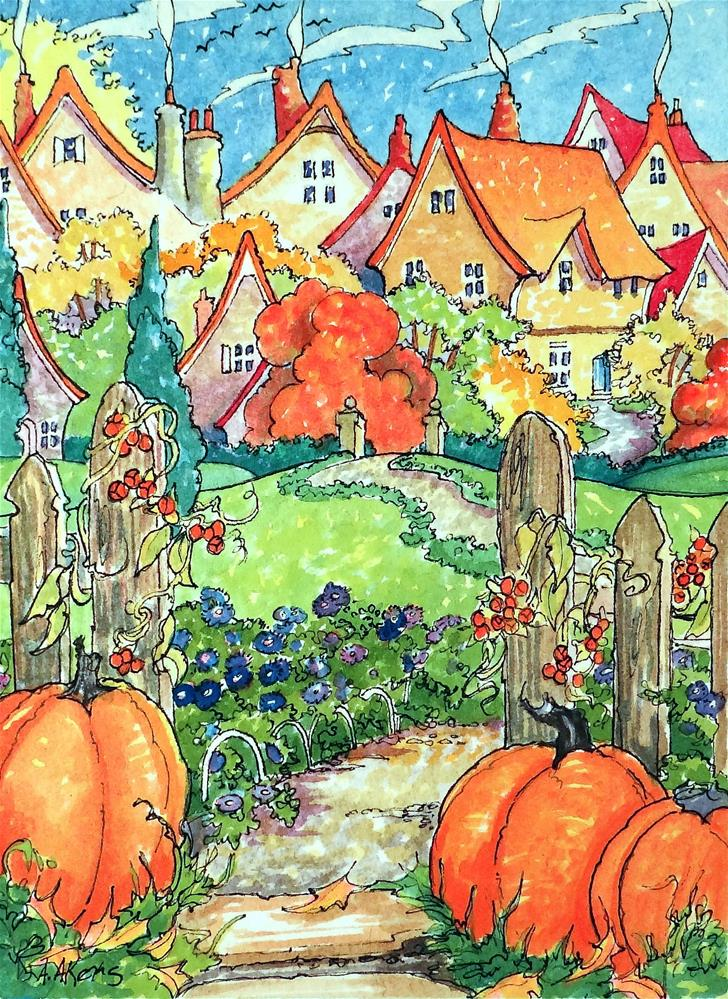 """Autumn on the Village Green Storybook Cottage Series"" original fine art by Alida Akers"