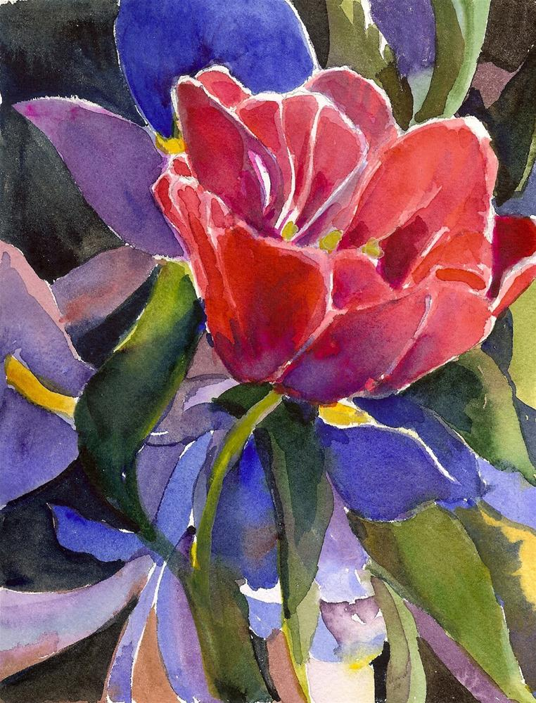 """A PinkTulip and a Royal Purple Iris  matted, framed"" original fine art by Reveille Kennedy"