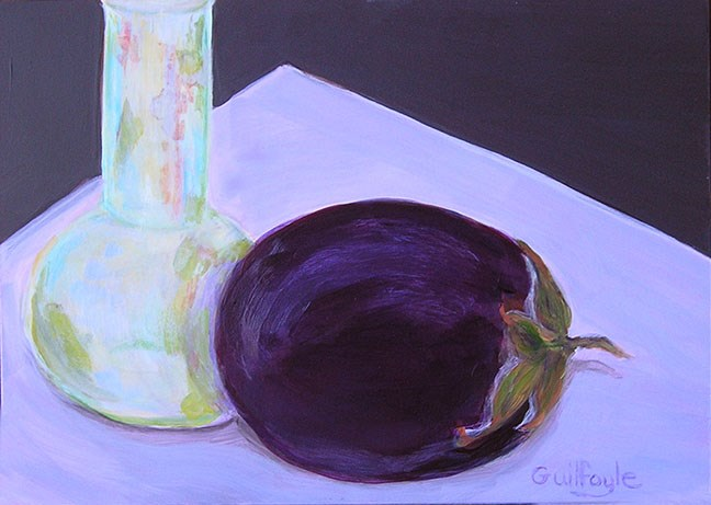 """Ancient Egyptian Glass Vessel with Aubergine"" original fine art by Maud Guilfoyle"