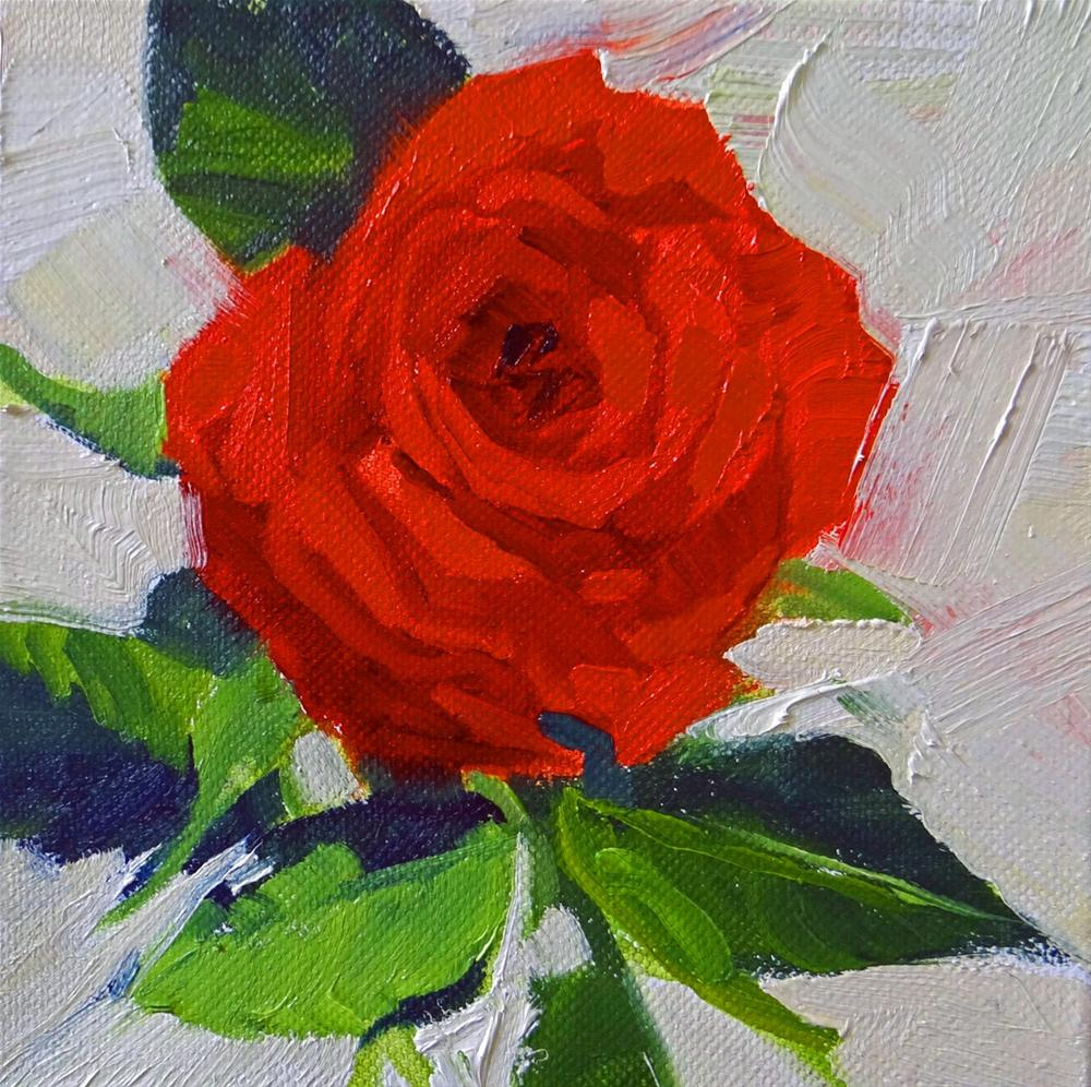 """Red Rose from Above"" original fine art by Nancy Paris Pruden"